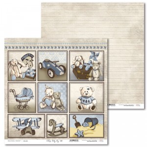 Laserowe Love - Papier do scrapbookingu 30,5 x 31,5 cm  - Vintage Baby Boy 01