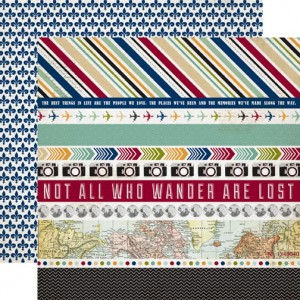 Echo Park - Getaway Collection - 12 x 12 Double Sided Paper - Border Strips
