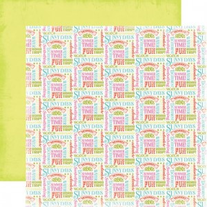 Carta Bella Paper - Summer Lovin Collection - 12 x 12 Double Sided Paper - Summer Words