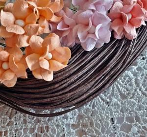 Sznurek woskowany bawełniany, 5m, 1 mm grubości, gorzka czekolada