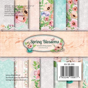 AltairArt - Spring Blossoms  zestaw papierów do scrapbookingu 15 cm x 15 cm