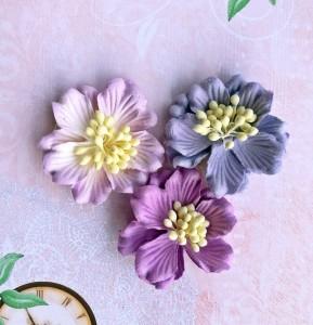 Gardenie, 5 cm, 3 sztuki, mix lawendowo - fioletowe