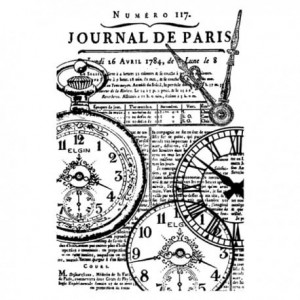 STAMPERIA - STEMPEL KAUCZUKOWY 7x11 cm ZEGARY JOURNAL PARIS
