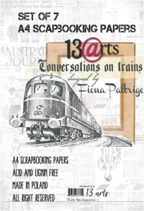 13arts - Zestaw papierów do scrapbookingu Kolekcja Conversations on Trains A4