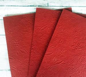 Papier czerpany tłoczony czerwony A4, 150 gsm, 1 arkusz