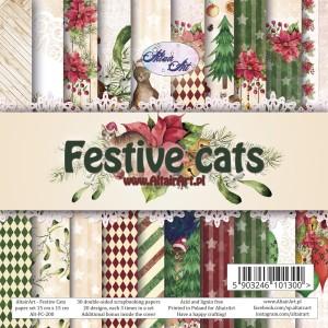 AltairArt - Festive Cats - zestaw papierów do scrapbookingu 15x15 cm