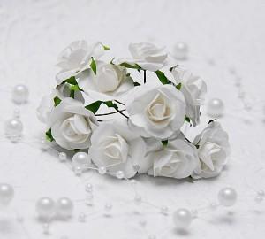 Papierowe Różyczki ok 2,5 cm10 sztuki, białe