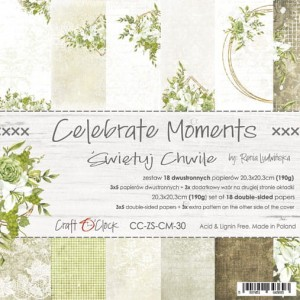 Craft o Clock CELEBRATE MOMENTS - ZESTAW PAPIERÓW 20,3X20,3CM