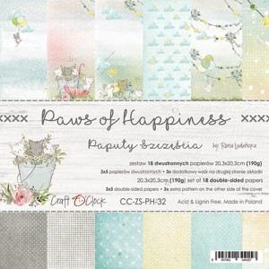 Craft O'Clock - PAWS OF HAPPINESS - ZESTAW PAPIERÓW 20,3X20,3CM