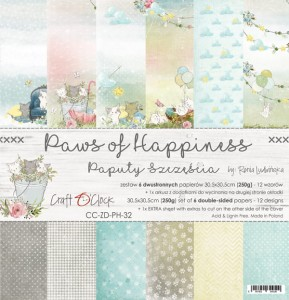 Craft O'Clock - PAWS OF HAPPINESS - ZESTAW PAPIERÓW 30,5X30,5CM