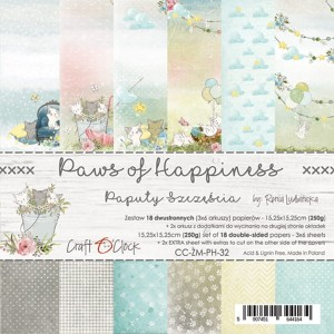 Craft O'Clock - PAWS OF HAPPINESS - ZESTAW PAPIERÓW 15,25X15,25CM