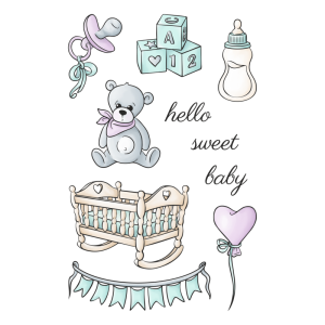 Happy scrap - ZESTAW STEMPLI - SWEET BABY - ARRIVAL