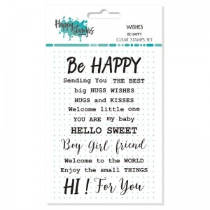 Happy scrap - ZESTAW STEMPLI - WISHES - BE HAPPY