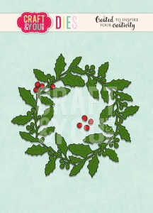 Craft&You Design WYKROJNIK -Holly wreath-wianek ostrokrzew