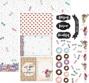 13arts - dwustronny papier do scrapbookingu Alice in Candyland, Candy rain