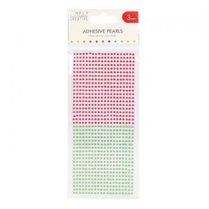 Półperełki samoprzylepne 3mm - 800szt - czerwone, zielone