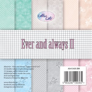 AltairArt - Ever and Always 2 zestaw papierów do scrapbookingu 15 cm x 15 cm