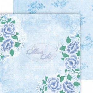Dwustronny papier do scrapbookingu Blue Rose 04 15 cm x 15 cm
