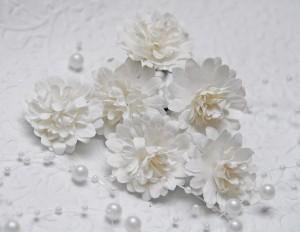 Papierowe gerbery ok 4 cm, 3 sztuki, białe