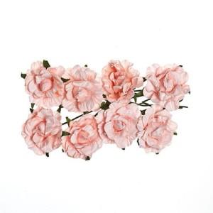 Kwiaty papierowe - róże, karbowane różowe