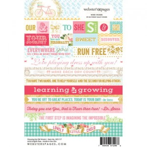 Word Growing Up Girl 4X6 Stickers