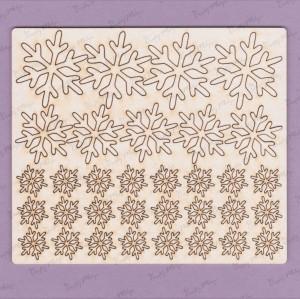 090 Tekturka - śnieżynki - zestaw1 - 33 sztuki