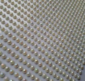Półperełki samoprzylepne, 1400 sztuk, 3 mm, ecru opalizujące