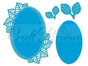 Craft Passion Komplet wykrojników Ramka owalna z listkami