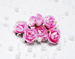 Papierowe różyczki ok 2,5 cm, 3 sztuk, jasny róż